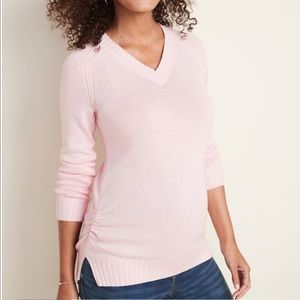 New Pink Maternity Side-Ruched V-Neck Sweater